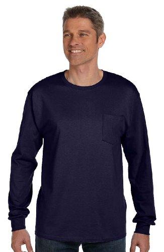 Sleeve 2XL With Navy Pocket T Shirt Tagless Mens Hanes Long 5596 aUzt766