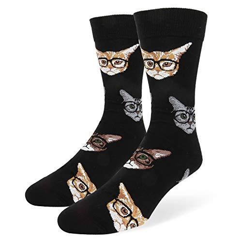 Novelty Funny Kitten Cat Glasses Crew Socks for Men Crazy Kittenster Dress Socks