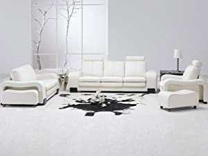 TOSH Furniture White Leather Living Room Set Sectional : tosh furniture leather sectional sofa - Sectionals, Sofas & Couches