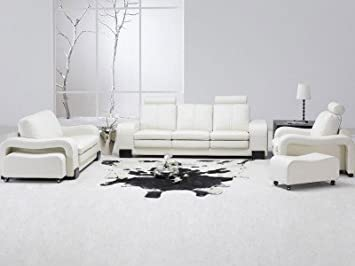 Amazon.com: TOSH Furniture White Leather Living Room Set Sectional ...