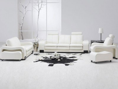 Amazon Tosh Furniture White Leather Living Room Set Sectional
