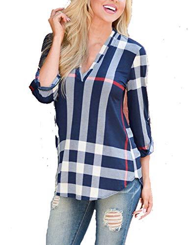 Longues Tuniques Shirts Vrifier Manches Au Blouses Les Occasionnels Se Tee Marine 8w6tEPa