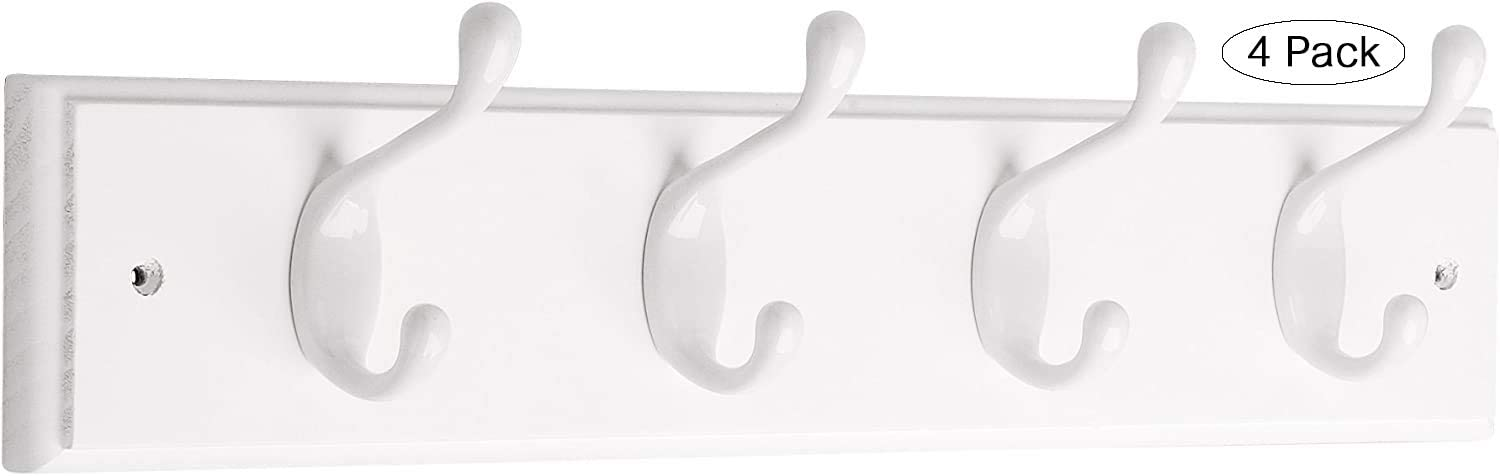 Pack of 2 White and White Liberty Hardware 129847 18-Inch Coat and Hat Rail//Rack with 4 Heavy Duty Hooks