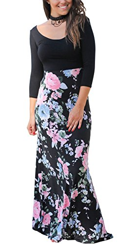 CoCo fashion Women's Casual 3/4 Sleeves Contrast Floral Printed Patchwork Maxi Dress (X_Large, (Spring Fashion Dresses)