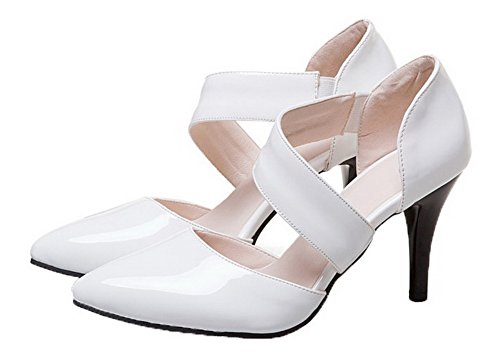 Solid High White Elastic Leather Closed Heels Toe Women's WeiPoot Sandals Patent 7qPg8