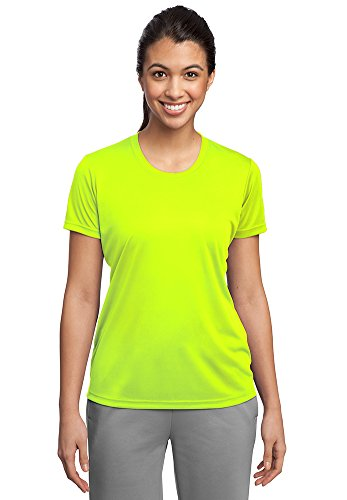 Female Yellow T-shirt (Dri-Wick Womens Sport Performance Moisture Wicking Athletic T Shirt (Medium, Neon Yellow))