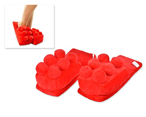 DSstyles Building Block Brick Pieces Slippers Unisex Soft Plush House Slippers - Red YCkWAUoMy