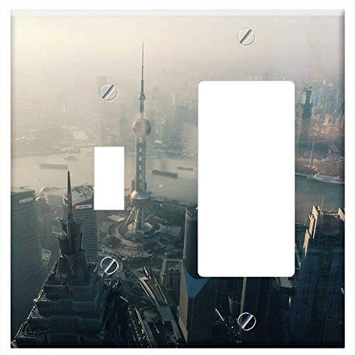 (1-Toggle 1-Rocker/GFCI Combination Wall Plate Cover - Oriental Pearl Tower Shanghai City Skyscraper)