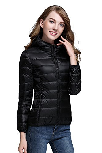 CHERRY CHICK Women's Packable Down Jacket with Hood X-Large - Cherry Jacket Womens