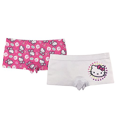 Sanrio Big Girls' Hello Kitty 2-Pack Seamless Boyshort, Asst, (Hello Kitty Boyshort Panty)
