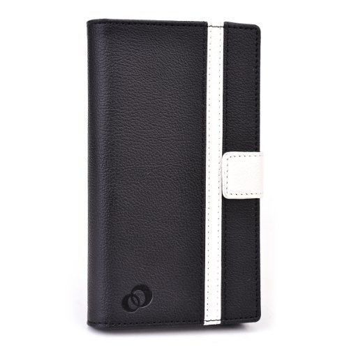 Gionee Elife S5.5 Case Universal Fit | Sliding Access to Camera | Black and Ivory White + ND VELCRO TIE