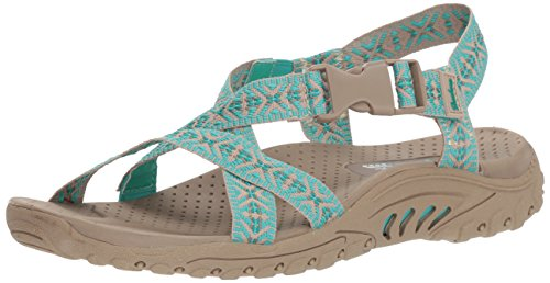Aqua Sandals - Skechers Women's Reggae-Ribbons-Open Toe Slingback Sandal, Aqua, 9 M US