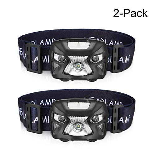 AIPROV 2-Pack Headlamp Flashlight Rechargeable Waterproof LED Head Lamps 200 Lumens, 8 Modes with White Red Light, Motion Sensor Switch, Lightweight Headlight for Camping Hiking Running