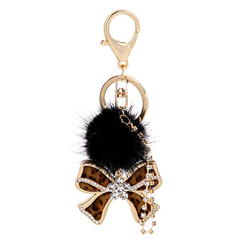(GH8 Kawaii Cute Rhinestone Leopard Print Bow Shape As Charms Car Key Chains Key Ring Tassels Keyring Keychains linnor Women Bag Charms DIY (Brown Type))