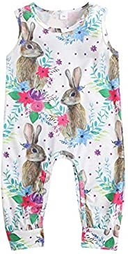 GOOCHEER Easter Baby Girl Outfit Sleeveless Floral Bunny Romper Bodysuit Jumpsuit Toddler Baby Girl Easter Clo