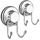 SANNO Double Hooks Suction Cups Vacuum Hook for Flat Smooth Wall Surface Towel Robe Bathroom Kitchen Shower Bath Coat,NeverRust Stainless Steel (2 pack)