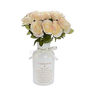 Eseres 12 Heads Artificial Roses Flowers Bridal Silk Flower Wedding Bouquet for Party Home Décor 111