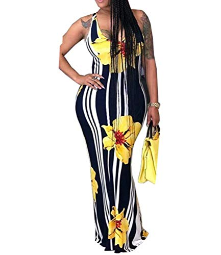 (ThusFar Women's Floral Print Floor Length Dresss Sleeveless Sexy Stripe Color Block Maxi Dress Summer Beach Yellow L)