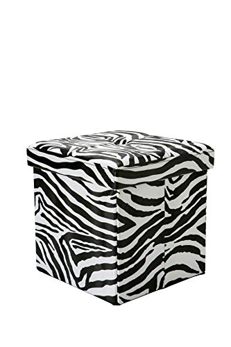 Simplify F-0627-ZEBRA Folding Storage Ottoman, Toy Box Chest, Faux Leather,Tufted Padded Seating, Bench, Foot Rest, Stool, Single, Zebra (Ottoman Zebra)