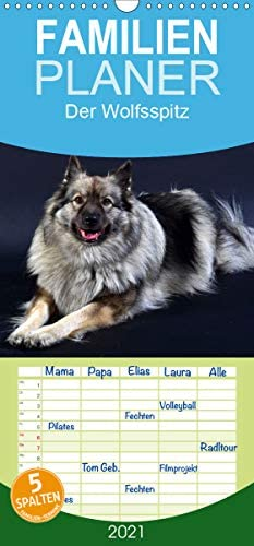 Der Wolfsspitz - Familienplaner hoch (Wandkalender 2021, 21 cm x 45 cm, hoch)