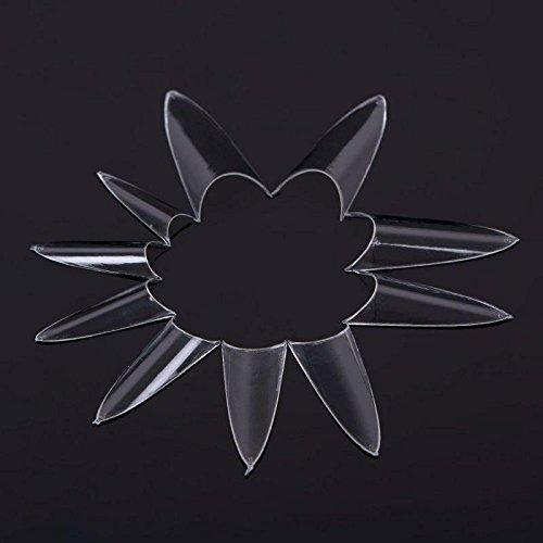 500Pcs Stiletto Point Shape Acrylic French False UV Gel Nail Tips White Transparent KeyZone