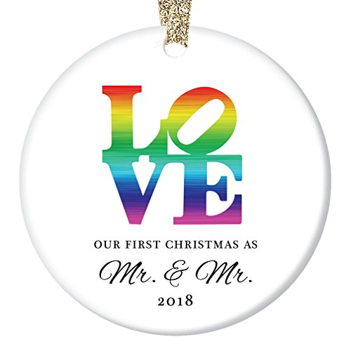 LOVE Gay Marriage Christmas Ornament 2018, 1st Xmas Gifts for Married Men, First Mr & Mr. Wedding Elegant Groom Engagement Present Ceramic 3