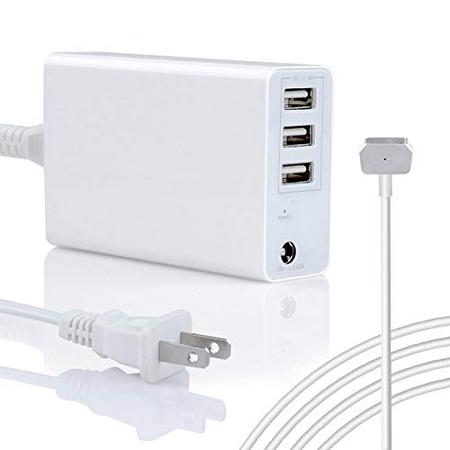 Portable 45W/60W Charger for MacBook Air 11 13 inch & Pro Retina 13inch, Replacement for Apple Magsafe 2 T-Tip Power Adapter Mac (2012,2013,2014,2015,2017) -3 Extra USB Ports