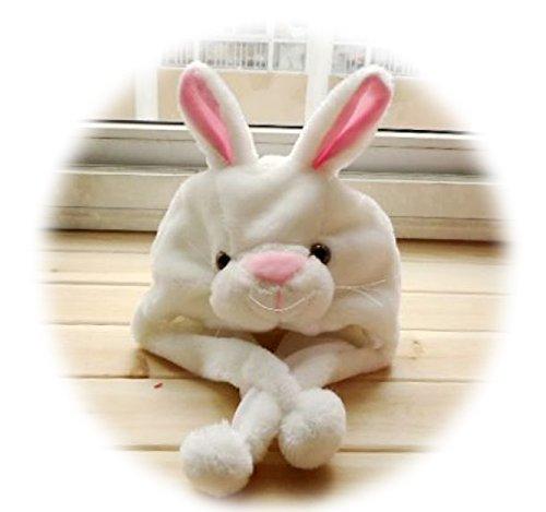 [Tonwhar Unisex One Size Cartoon Animal Fluffy Plush Hat Cosplay Aviator Hat (White bunny)] (Adult Aviator Hat)