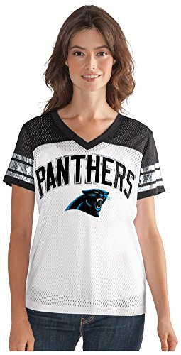 - GIII For Her NFL Carolina Panthers Women's All American Mesh Tee, Large, White
