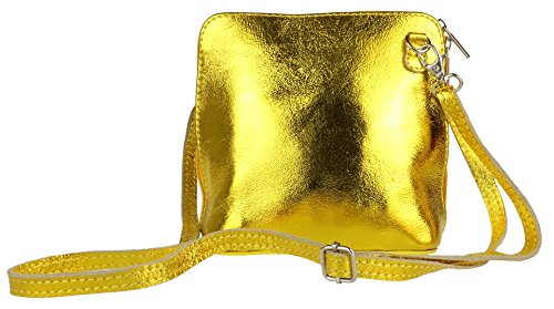 Leather Metallic Bag Gold Girly Cross Genuine Shoulder Body HandBags Bright qSxxa6twR