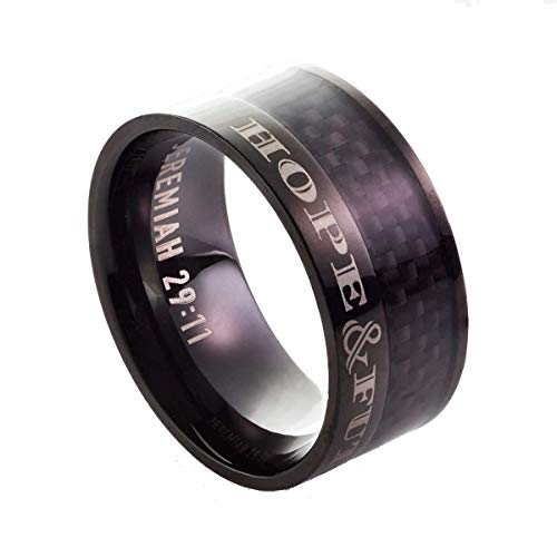 Christian Art Gifts Hope & Future - Stainless-Steel Men's Ring (Size 12) - Hope Christian Ring