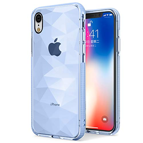 (Newseego Compatible with iPhone XR Case Clear Crystal Diamond Pattern Soft TPU + Air Cushion Technology Designed Shockproof Anti-Scratch Phone Protective Cover for iPhone XR-Blue)