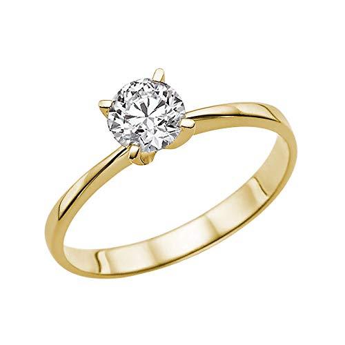 0.5 Carat D-F VS Diamond Engagement Ring Certified Man Made Promise Ring 14K Gold