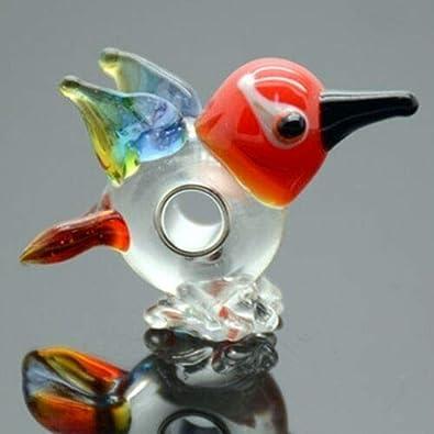 Colorful Love Birds Lampwork Glass Animal Single Core Large 5mm Hole Charm Bead