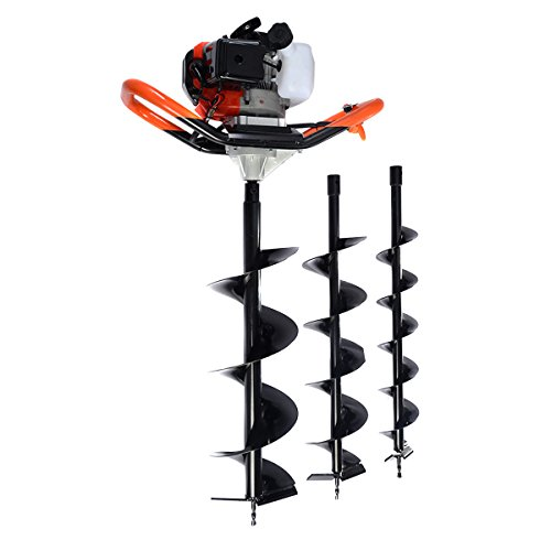Goplus 2.3HP V-Type 55CC 2 Stroke Gas Post Hole Earth Digger w/ Auger 4'',6'',8 '' by Goplus
