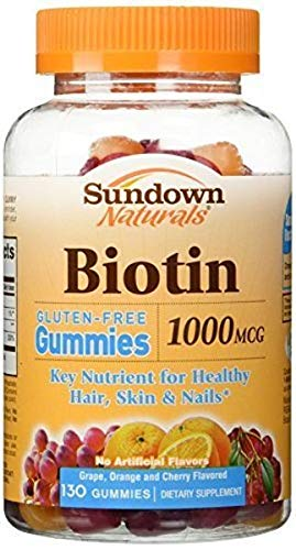 Sundown Naturals Biotin 1000 mcg, 130 Gummies Gluten Free, Key Nutrient for Healthy Hair, Skin & Nails