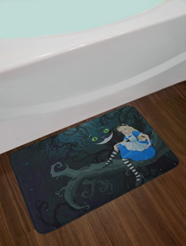 Ambesonne Alice In Wonderland Bath Mat Alice Sitting On Branch And