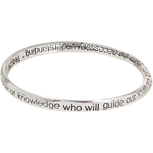 Heirloom Finds Teacher Prayer Silver Tone Twist Bangle (Prayer Bangle Silver Tone Bracelet)