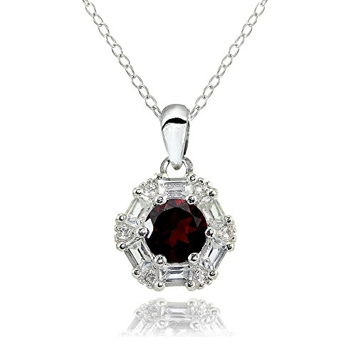 Sterling Silver Garnet and White Topaz Baguette & Round-Cut Fashion Necklace ()
