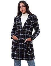 معطف كاروهات بياقة قلابة وازرار امامية للنساء من دالي دريس، 40