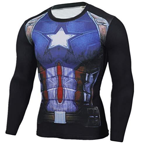 Long Sleeve Captain America Compression Running Shirt Mens Costume Shirt M -