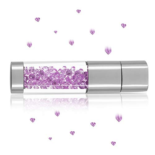 USB Flash Drive 128GB, Techkey Crystal Jewelry Pen Drive with Silver Polishing Cloth and Velvet Bag Set for Girls ( Amethyst)