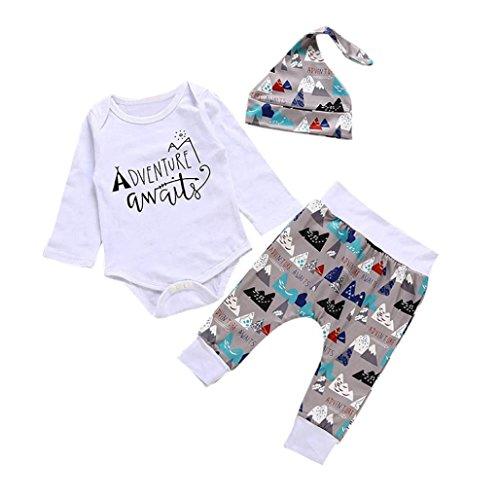 Fineser 3pcs Infant Baby Adventure Awaits Print Long Sleeve Romper Jumpsuit+Pants+Hat Outfits Set (White, 3M)]()