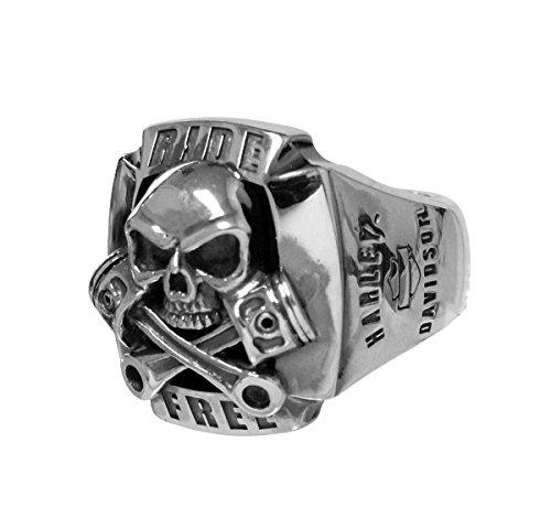 Harley Davidson Crossbones (Harley-Davidson Mens Ride Free Skull & Crossbones Pistons Silver Ring (11))
