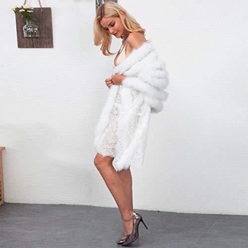 Blanco Party Estolas Estilo Chal Piel Invierno Mujer Caliente Color Battercake De Elegante Sólido Moderno Sin Mullido Mangas Casuales Mujeres UqwOW6F