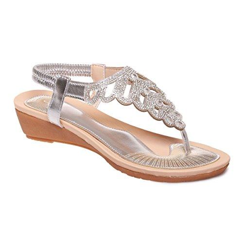 La Modeuse - Sandalias de vestir para mujer, blanco (blanco), 40 EU
