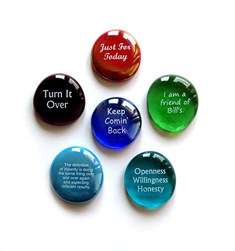 Lifeforce Glass Recovery Stones, 6 Daily Reminders for Encouragement in Sobriety on Glass Stones. Perfect for 12 Step Set III.