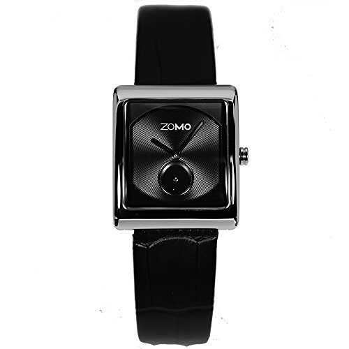 ZOMO Aroma Luxury Watches for Women - Designer Watches Swiss Quartz Square Watches with Silver Dial and Black Leather Strap
