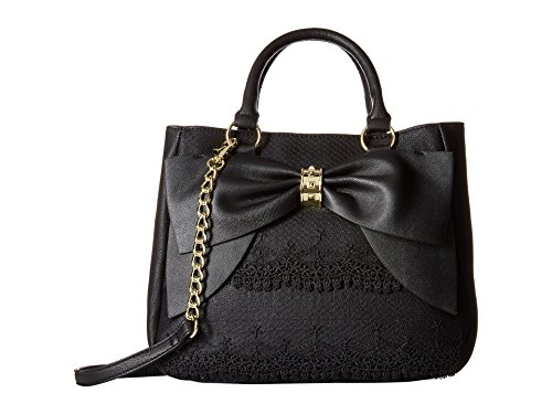 Betsey Johnson Women's Bow on Bucket Black Cream Handbag by Betsey Johnson