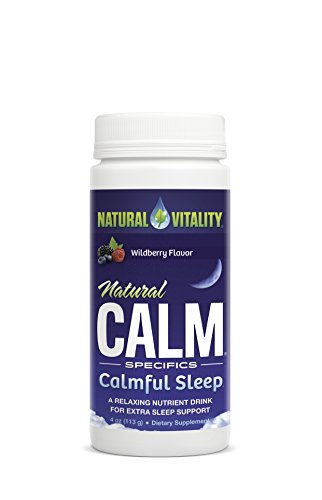 Natural Vitality Natural Calm Calmful Sleep Magnesium Anti Stress Extra Sleep Support, Organic, Wildberry, 4 oz